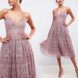 ASOS Eyelash Lace Midi Dress in Mink